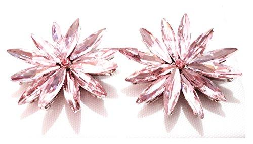 Pendientes Cristales Colores Mujer Fiesta Boda Pendientes Elegantes con Forma de Flor y Dorso Chapado Plata, Rosa Claro