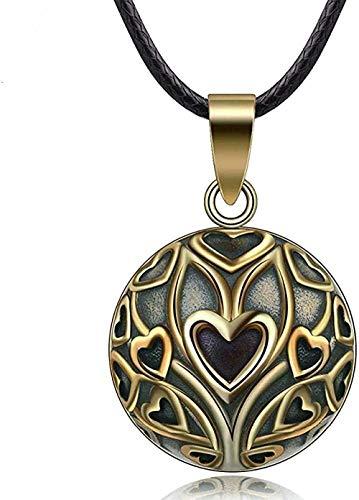 LKLFC Collar Mujer Collar Hombre Colgante Collar Vintage Bronce Corazón Colgante Collar Bola Mexicana Embarazo para Mujeres Joyería Longitud de la Cadena 45cm Collar Collar Niñas Niños Regalo