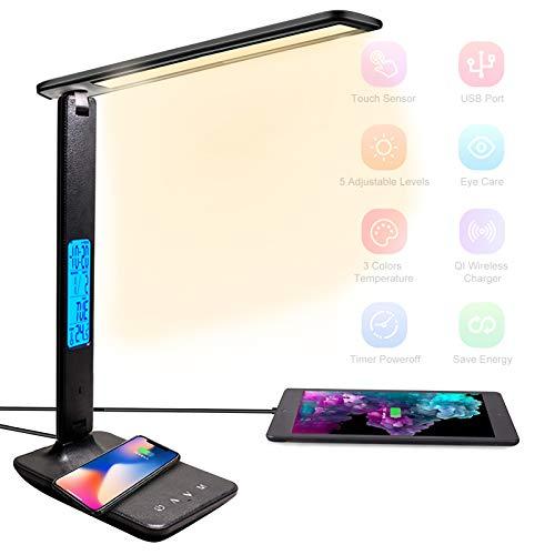 BelonLink Lámpara Escritorio LED, Carga Inalámbrica Wireless y Puerto USB, Flexo de Lectura con 3 Modos y 5 Niveles de Brillo, Control Táctil y Temporizador, (Negro) [Clase energética A+++]