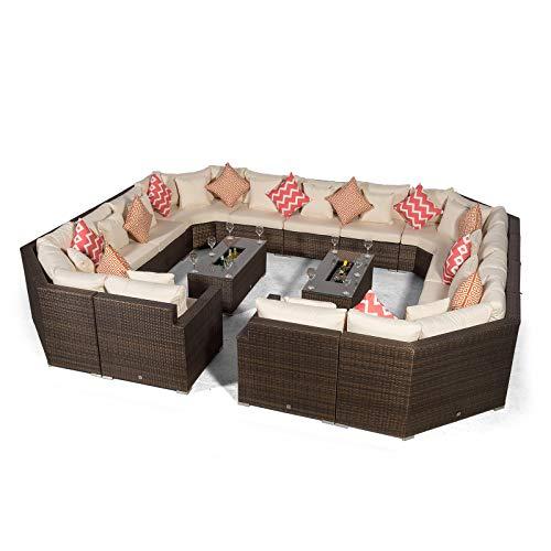 Giardino Santorini Large 13 Seater Brown Rattan Sofa Set + 2 Drinks Cooler Coffee Tables & Outdoor Rattan Furniture Cover | Modular Poly Rattan Garden Sofa Set | Outdoor Conversation Set & Sun Lounger