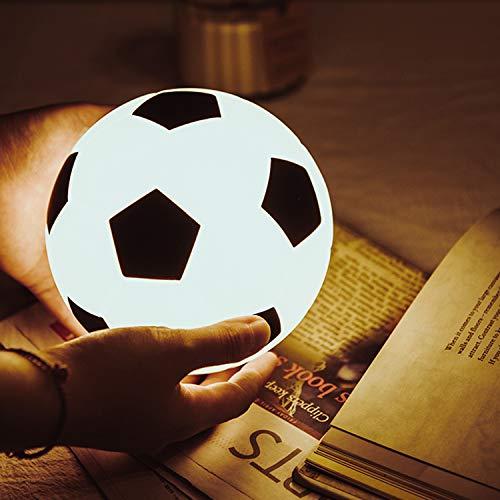 Fußball Nachtlicht für Kinder, Fußballspielzeug Geschenk für Jungen, USB wiederaufladbare Kinder Nachtlampe / 13cm / Weiß