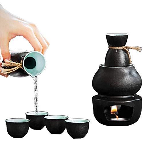 Mnjin Sake Cup Set mit Wärmer - Traditionelle Keramik Hot Saki Set 6-teilig Inklusive Flachmann/Weinglas/Warmer Topf/Heiztisch, traditioneller Sake-Glaskrug nach japanischer Art aus Porzella