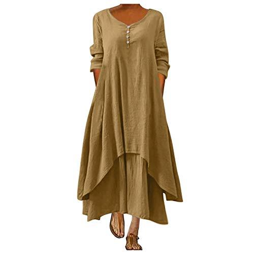 BUDAA Langes Kleid für Damen, Vintage, locker, lässig, Sommer, Boho-Kleid Gr. 50, gelb