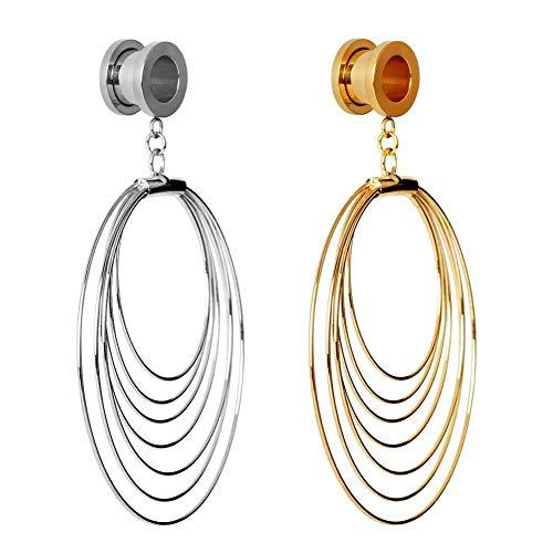 KUBOOZ Dangle Plugs Flesh Tunnel Piercing Ohr Messgeräte Expander Bahre Stahl Frauen Schraube Ohrringe 2g (6mm) bis 1 Zoll (25mm)