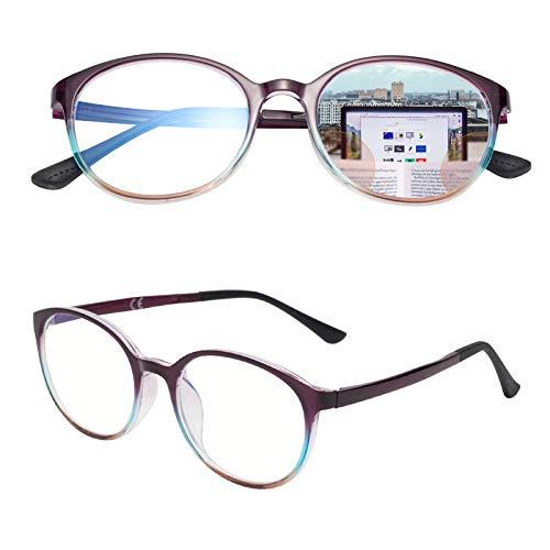 遠近両用老眼鏡 累進多焦点 軽い ブルーライトカット ボストン型 メンズ レディース おしゃれ C5 度数 +200