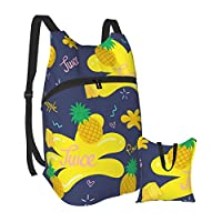 stock-vector-fruit-in-summer-pineapple-juice-pattern-vector-illustration-1092197003 バックパックハイキングデイパック男性女性小型防水ポータブル折りたたみバックパック旅行スポーツショッピング超軽量カジュアルバッグ