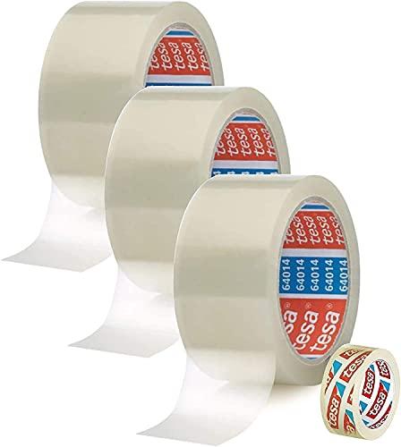 Tesa 3 Rollen Transparent Paketklebeband - 50mm X 66m +Gratis Tesafilm [15mm X 10m]