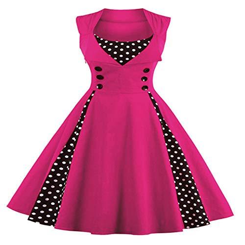 Vestido retro para mujer, estilo vintage, años 50, 60 y puntos, para fiestas de verano, elegante túnica