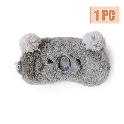 H HOMEWINS Schlafmaske 3D Süße Atmungsaktive Augenmaske aus 100% Naturseide & Plüsch Verstellbares Gummiband Schlafbrille Nachtmaske für Schlafen Reisen Party (Grau Koala)