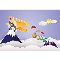 HiYash イースターのテーマ10x6.5ftビニール写真の背景漫画イースターエッグパラシュート飛行機雪の山を横切って飛ぶ雲シーン背景コミュニティイースターエッグハント日バナー