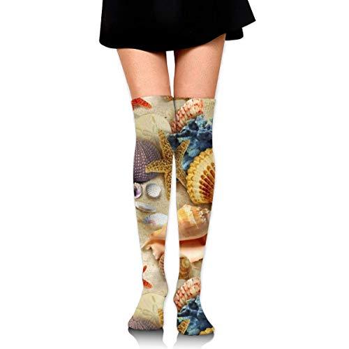 Calcetines altos para mujeres y niñas, con diseño de estrella de mar, conchas de mar, muslo largo, 60 cm