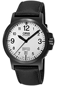 Oris Men's 73576414766LS BC3 Sportsman Day Date Black DLC Case and Leather Strap Watch image