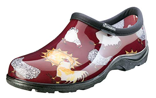 Sloggers Women's Waterproof Rain and Garden Shoe with Comfort Insole, Chickens Barn Red, Size 8, Style 5116CBR08