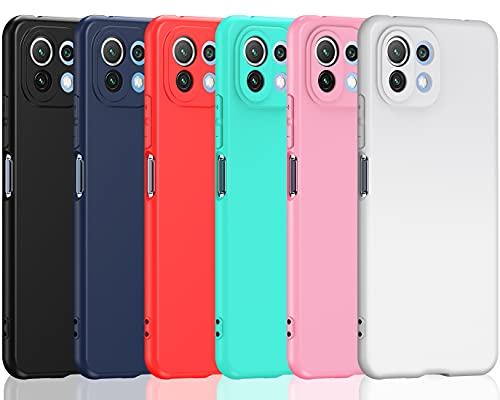 ivoler 6 Stücke Hülle für Xiaomi Mi 11 Lite 4G / 5G / NE, Ultra Dünn Tasche Schutzhülle Weiche TPU Silikon Gel Handyhülle Hülle Cover (Schwarz, Blau, Rot, Grün, Rosa, Weiß)