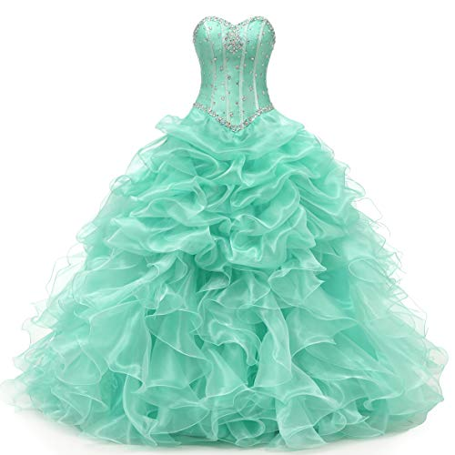 Angela Women's Sweetheart Beads Ball Gown Organza Quinceanera Dresses Prom Party Dresses (8, Mint Green)