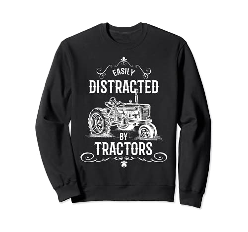 Gráfico divertido vintage fácilmente distraído por el diseño de tractores Sudadera