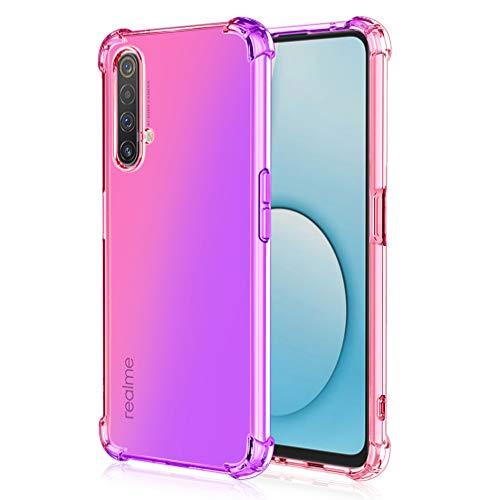 HAOTIAN Hülle für Realme X3 SuperZoom Hülle, Farbverlauf-TPU Handyhülle, [Vier Ecken Verstärken] Weiche Transparent Silikon Soft TPU Hülle Schock-Absorption Durchsichtig Schutzhülle (Pink/Lila)