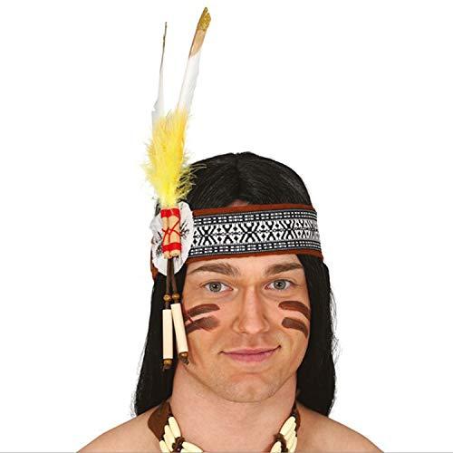 Autentica Banda para la Cabeza India con Adorno de Plumas - Bandana nativa Americana Disfraz lejano Oeste - El Centro de Las miradas para Festival y Carnaval
