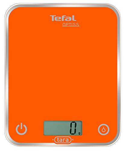 Tefal BC5001V1 Balance de Cuisine Électronique Optiss 5kg/1g Fonction Tare Conversion Liquide Ecran LCD Orange