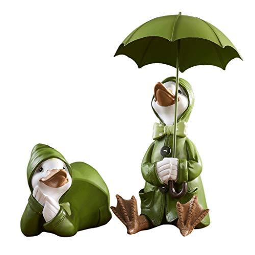 GLOOPE hars paar van groene eend standbeeld decoraties ambachten ornamenten geschikt voor huiskamer woonkamer tv-kast beeldhouwwerk kleine meubels