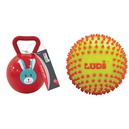 Ludi - 30012 - Hochet Balle - Assorties + Ludi - 30018 - Balle Sensorielle - Bicolore