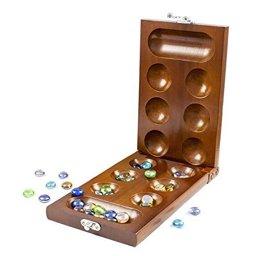 Cucheeky Mancala - Juego de mesa con piedras de madera maciza para adultos y niños