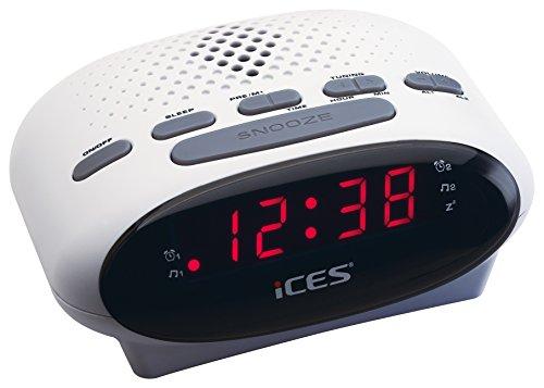 iCES ICR-210 White Uhrenradio (2X Weckzeiten, Schlummerfunktion, Sleeptimer) weiß