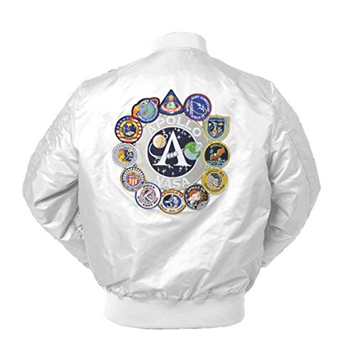 Mens Apollo Space Embroidered Patches Slim Fit Bomber Windbreaker White NASA Jacket