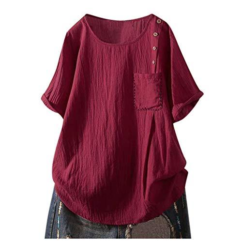 Frauen Solide Taste Kurz Ärmel Tasche T-Shirt Bluse