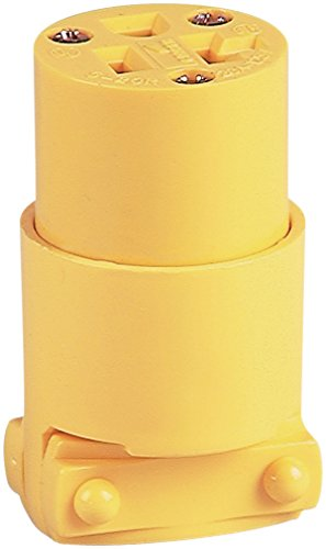 EATON 4228-BOX Heavy Duty Grounded Straight Blade Electrical Connector, 125 V, 20 A, 2 Pole, yellow