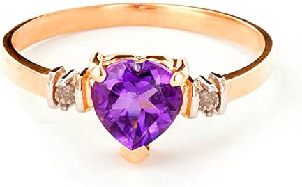 Galaxy Gold 14k Gold Ring with Genuine Diamonds and Natural Heart shaped Purple Amethyst rose product image