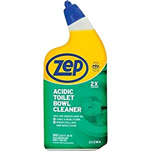 ZEP Acidic Toilet Bowl Cleaner, 32 Ounce (2-Pack) ZEP Commercial Acidic Toilet Bowl Cleaner quickly removes rust stains, organic and hard water stains and residue. Its clinging gel formula works longer and harder on vertical surfaces, leaving a clean...