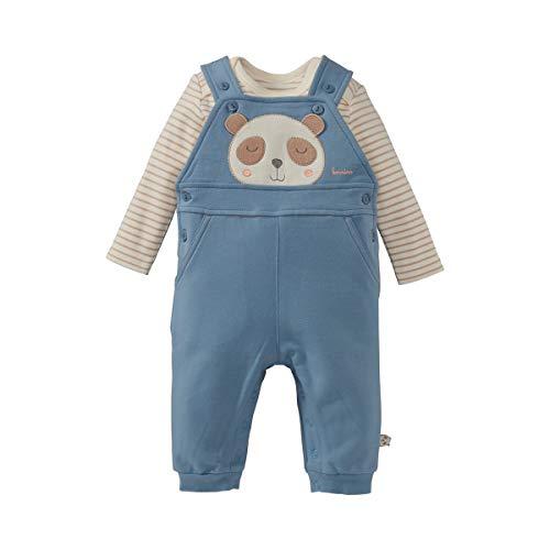 Bornino Latzhose & Body langarm Panda (2-tlg. Set) - geringelter Langarmbody & Latzhose in Sweat-Qualität aus Baumwoll-Mix - offwhite gestreift/blau
