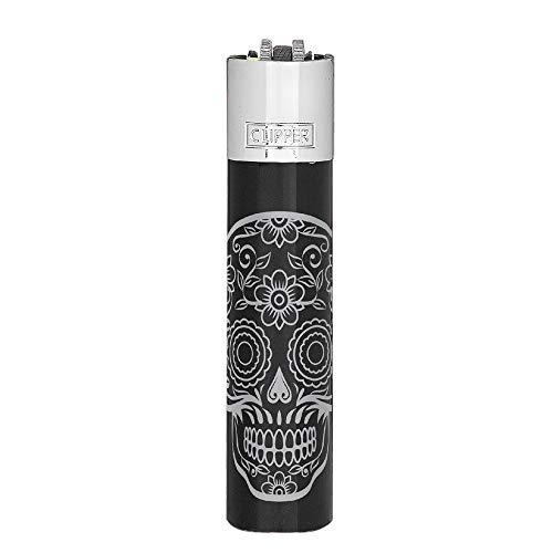 HIBRON Pack de Clipper 1 Encendedor Mechero Clásico Largo Metal Plateado con Diseño Mex Skulls + 1 Llavero de Regalo