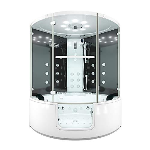 AcquaVapore DTP60-140-SW-EH Whirlpool Wanne mit Tür Sauna Dusche Duschkabine 140x140cm MIT 2K-Scheibenversiegelung OHNE aktive Schlauchreinigung