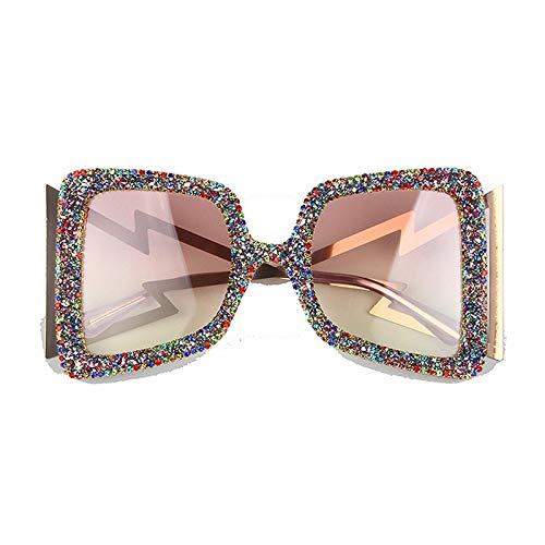 Secuos Moda Gafas De Sol De Gran Tamaño para Mujer, Grandes Y Anchas, Piedras Brillantes, Tonos De Moda, Uv400, Gafas De Marca Vintage, Clearmix