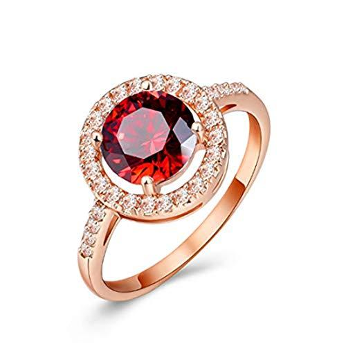 yichahu Anillo de piedras preciosas de rubí para mujer, oro rosa, piedra roja, piedra colorida, anillo de compromiso, anillos de boda de circonita, joyería de diamante