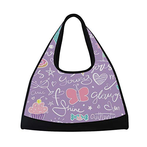 NISENASU Sporttasche,Nahtloses wiederholendes Muster Beschaffenheits Design nett,Neue Sport Reisetaschen Tennisschläger Rucksack Badminton Kurze Reisetaschen tragbare Umhängetasche (20×6.7×18.5 in)