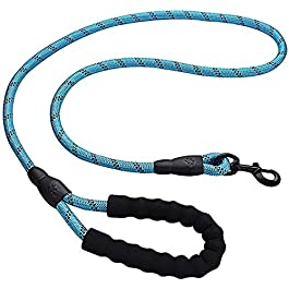 Soft Padded Dog Rope Lead 1.5 M Durable Rope with Handle and High Reflective Threads,Twist Lead in Strong Pulling Support (Pink)