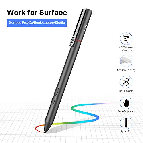 Pen for Surface, Penoval Stylus Pen with Palm Rejection & 4096 Pressure Sensitivity for Surface Pro 6/5/4/3, Surface Book 2/1, Surface Laptop 2/1, Surface Go/Studio (4A Battery & 2 Pen Tips Included)