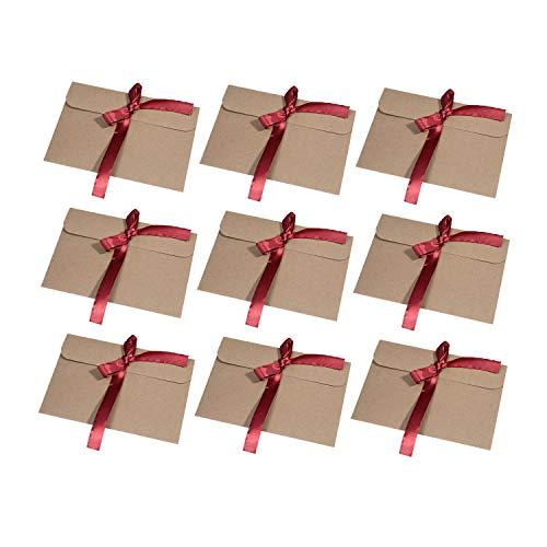Wolintek [30 Stück] Kraftpapier Umschläge Retro Kraftpapier Vintage Kraft Briefumschläge in Hochwertiger Qualität Kraftkarte Recycelt für Grußkarten, Einladungskarten (Braunes Band) (rot)