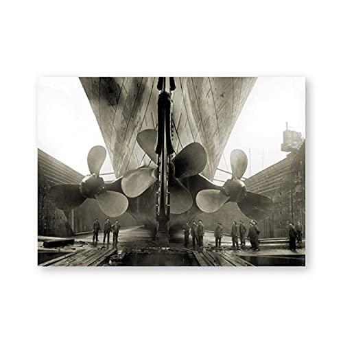 Aawerzhonda Póster de Lienzo Póster de Titanic Impresiones Titanic Propeller Pared Arte Imagen Sepia Carteles de películas clásicos decoración del hogar 60x90cm