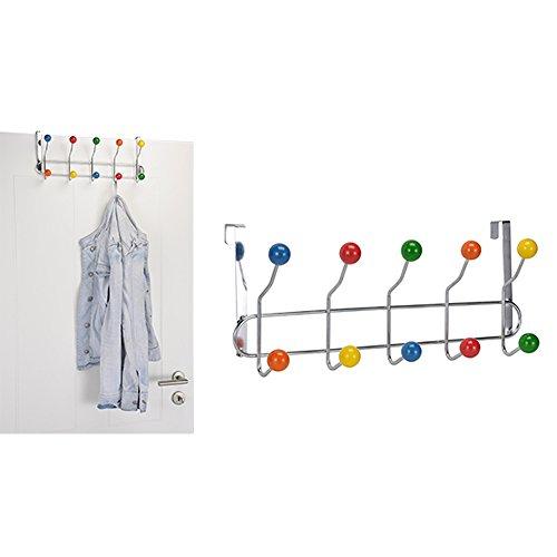 DRULINE Tür-Garderobe, Leiste mit 10 Haken mit bunten Kugeln Türhaken, H16 x B42 xT 9,5 cm,Türhakenleiste mit 10 bunten Haken