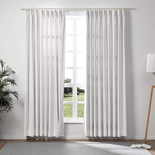 ChadMade 50' W x 96' L Polyester Linen Drapes with Blackout Thermal Lining Pinch Pleat Curtain for Sliding Door Patio Door Living Room Bedroom, (1 Panel) Snow White
