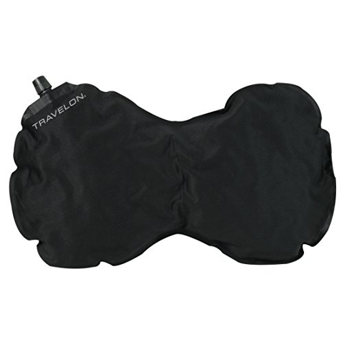 Travelon Luggage Self-Inflating Neck and Back Pillow, Black