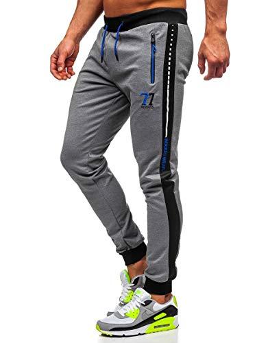 BOLF Homme Pantalons de Sport de Survetement d'entrainement de Football de Fitness de Athletique Joggeur de Course Slim Fit Street Style AM96 Gris XXL [6F6]