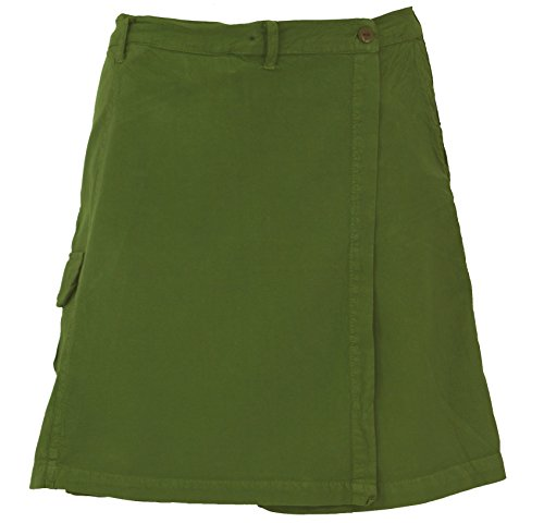 GURU SHOP Goa Shorts, Hosenrock, Damen, Olive, Baumwolle, Size:XL (42), Shorts, Leggings Alternative Bekleidung