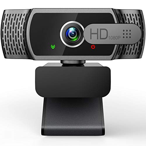 EYONMÉ Webcam mit Mikrofon,1080P Kamera mit Webcam Abdeckung,USB 2.0 Plug & Play, für Desktop und Laptop Video Konferenzen,Online-Unterricht und Live-Streaming,Kompatibel mit Windows,Linux und MacOS
