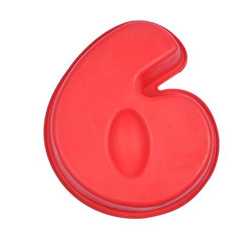 CAP DELICES 6MOUL146 Moule Chiffre 6 Silicone Rouge 22,5 x 26 x 5,5 cm