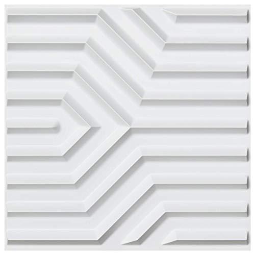 Art3d Matt White PVC 3D Wall Panels Geometric Mate Design, 19.7' x 19.7' (12 Pack)